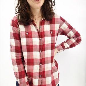 Madewell : Eliot Red Plaid Boyfriend Button-Up Sm
